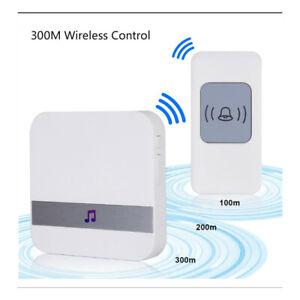 Smart Home Loud Wireless Doorbell With Chime 52 Music Waterproof 300m Remote UK