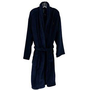 New Polo Ralph Lauren Bathrobe Men's Small Blue Fleece Soft Plush Comfort