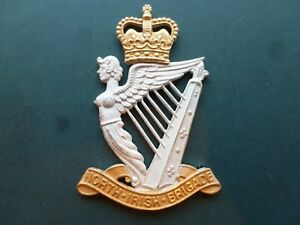 North Irish Brigade pipers badge in silver plate & gilt