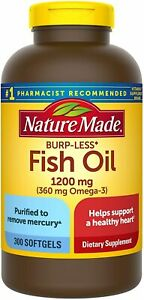 Nature Made Burp-Less Fish Oil 1200 mg Softgels, 300 Count for Heart Health