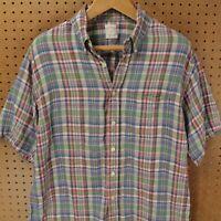 Brooks Brothers linen short sleeve shirt LARGE plaid checks multi color