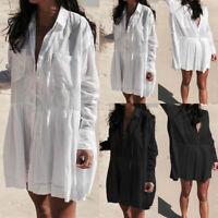 UK Womens Long Sleeve Mini Shirt Dress Ladies V Neck Skater Tunic Tops Plus Size