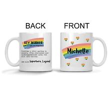 Personalised Mug Key Worker Dictionary Style Thank You Gift Rainbow Shop Worker