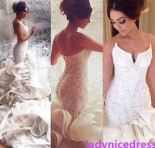 Chapel Train Mermaid Organza Lace Appliques  Bridal Gowns Church Wedding Dresses