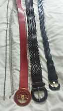 Ladies various Belts black brown red silver chain black glass stones
