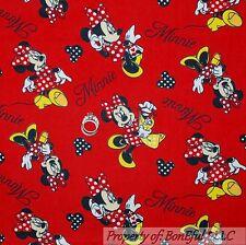 BonEful FABRIC Cotton Quilt Flannel Red B&W White Minnie Mouse Disney Dot SCRAP