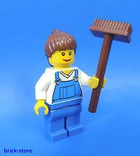 LEGO CITY FERME / Figurine paysanne avec balai