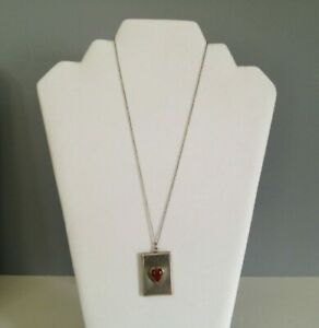"""Sterling Silver 18"""" Cable Necklace With Red Stone Heart Engraved Locket Pendant"""