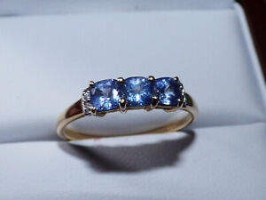 Tanzanite and Ceylon White Sapphire Gold Ring - AA grade stones