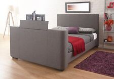 Home Source - Electric TV Bed Television 5ft King Grey Fabric Sprung Slats