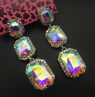 Betsey Johnson AB Glass Crystal Rhinestone Square Dangle Stud Earrings
