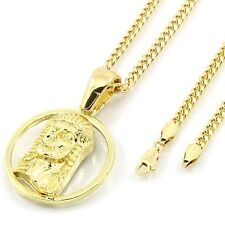 "Men's 14k Gold Plated Ring Jesus Pendant Hip-Hop 30"" 3mm Cuban Chain"