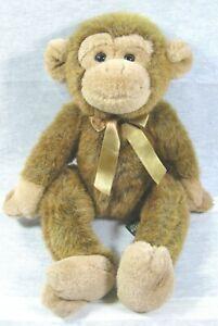 """Vintage Russ Berry Plush 14"""" Jimby Brown Monkey Soft Stuffed Animal"""