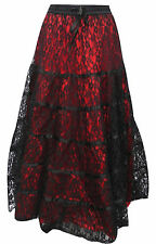 Dark Star Gothic Red Satin & Lace Tiered Skirt Victorian Witch Gypsy Freesize
