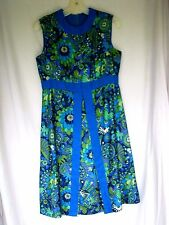 Vintage Mod Mini Scooter Dress Lord and Taylor Blue Green 1960 60's Size 10*