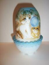 Fenton Glass Three Kittens Cat Christmas Ornament Fairy Light Ltd Ed #5/28 Kibbe
