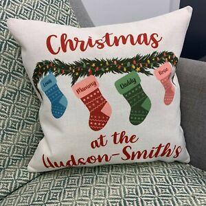 Personalised Family Christmas Stocking Cushion - Gift Set Holiday Decor