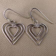 Boucles d'oreilles coeur argent massif