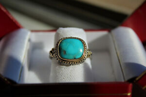 Beautiful Sterling Silver and Gold  Gerochristo Turquoise Ring SZ6