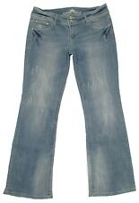Almost Famous Dirty Wash Flare Distressed Jeans Size 11 Junior Womens Low Rise