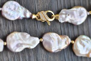 "P7401 18"" 24mm Lavender Coin Baroque Keshi Reborn Pearl Necklace CZ"