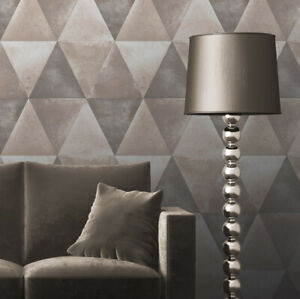 Muriva Caden Geometric 3D Triangle Metallic Distressed Wallpaper Taupe 152502
