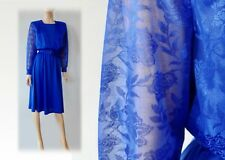 Vintage 70s Bold Royal Blue Belted Secretary Dress Sheer Floral Sleeve M