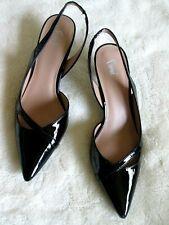 FIONI 10M Black Patent Pointed Toe Slingback Low Heel PUMPS HEELS NEW