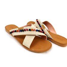 Toms Womens Viv Natural Hem Pom Pom Slide Sandals Shoes Size 4