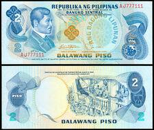 ABL Philippines 2 Pesos Rizal RED FANCY Serial No AJ 777111  Banknote