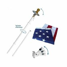 American Flag and Flagpole Set - 6 ft. Aluminum Spinner Pole th. Free Shipping