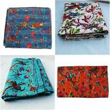 Indian Vintage Handmade Bird Print Kantha Quilt Reversible Blanket Bedspread Art