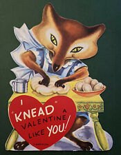 1950s Vintage Valentine's Day Greeting Card Sly Fox in Apron Making Bread