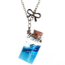 Vintage Style Aqua Sea Gems Bottle Long Bottle Pendant Necklace N525