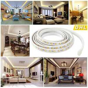 6M 5050 LED Strip Streifen Band Leiste Lichterkette Kaltweiß Warmweiß 220V
