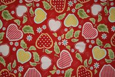 riley blake cotton quilting fabric quilted fish apple of my eye red pink 32""