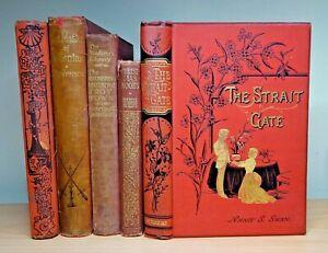 5 x Rare Decorative Antique Books FIRST EDITION Dickens Walter Crane STEVENSON