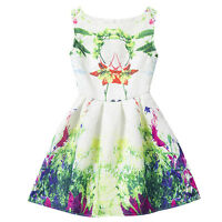 3-7T Toddler Kids Girls Princess Dress Floral Sleeveless Sundress Party Dresses