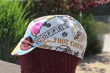 Cycling Cap Coffe And Donuts 100% Cotton Handmade In Usa Any Size