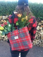 Harris tweed bag purse gift for her red tartan purse womens gift scottish gift