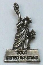 USA Statue Of Liberty  911 Commemorative Lapel Pin, Antique Silver Plate, NEW