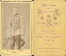 Numa Blanc, Paris, Militaire en uniforme à brandebourgs, circa 1880 CDV vintage