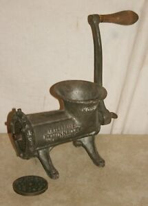 VINTAGE ENTERPRISE No.22 TINNED MEAT GRINDER WITH 2 PLATES