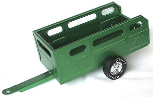 """Vintage Nylint Pressed Steel Green 11-1/2"""" Toy Utility Vehicle Trailer USA VGC"""