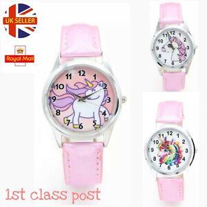 Kids Girls Unicorn Wrist Watches 3D Watch Cartoon Horse Children Pony Pink Gift