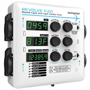AutoPilot APE2200 Revolve F20 Digital Repeat Cycle Grow Light Combo Timer, White