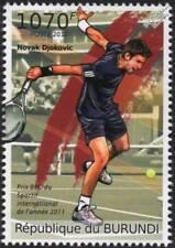NOVAK DJOKOVIC Serbian Tennis Player / Sport Stamp (2012 Burundi)