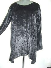 black crushed velvet long sleeved tunic kaftan top 16 18 20 22 24 26 28 30 bnwot