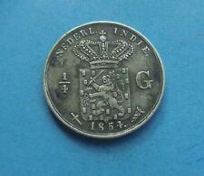 Netherlands East Indies, 1/4 Gulden 1854 (silver) Excellent Condition.