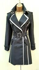 Size 12 UK KAREN MILLEN BLACK COTTON BELTED MILITARY TRENCH COAT MAC JACKET